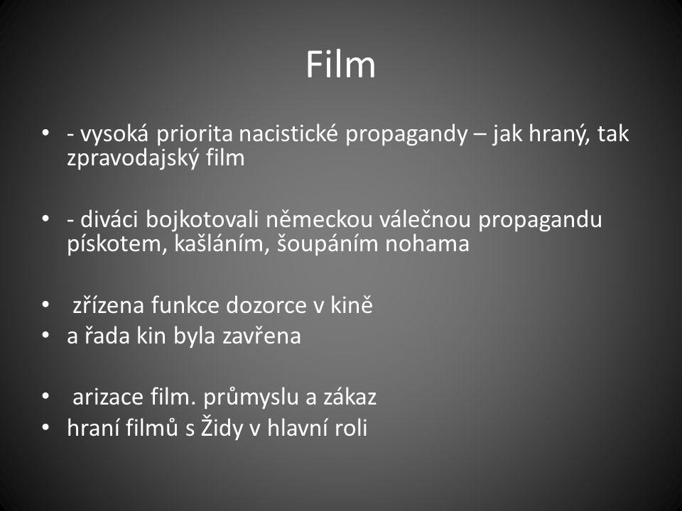 Film - vysoká priorita nacistické propagandy – jak hraný, tak zpravodajský film.