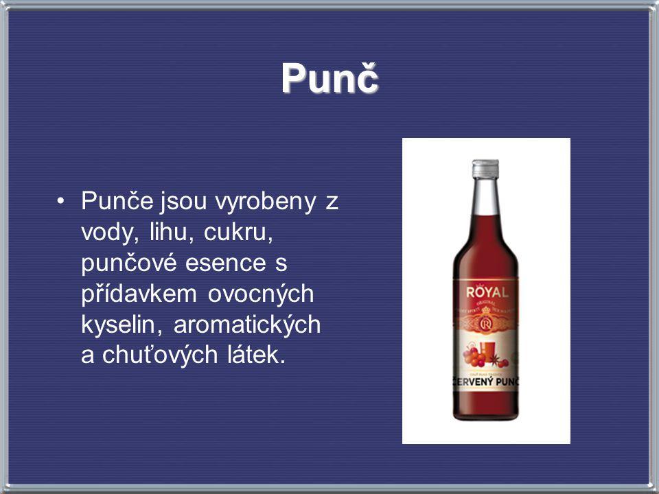 Punč Punče jsou vyrobeny z vody, lihu, cukru, punčové esence s přídavkem ovocných kyselin, aromatických a chuťových látek.