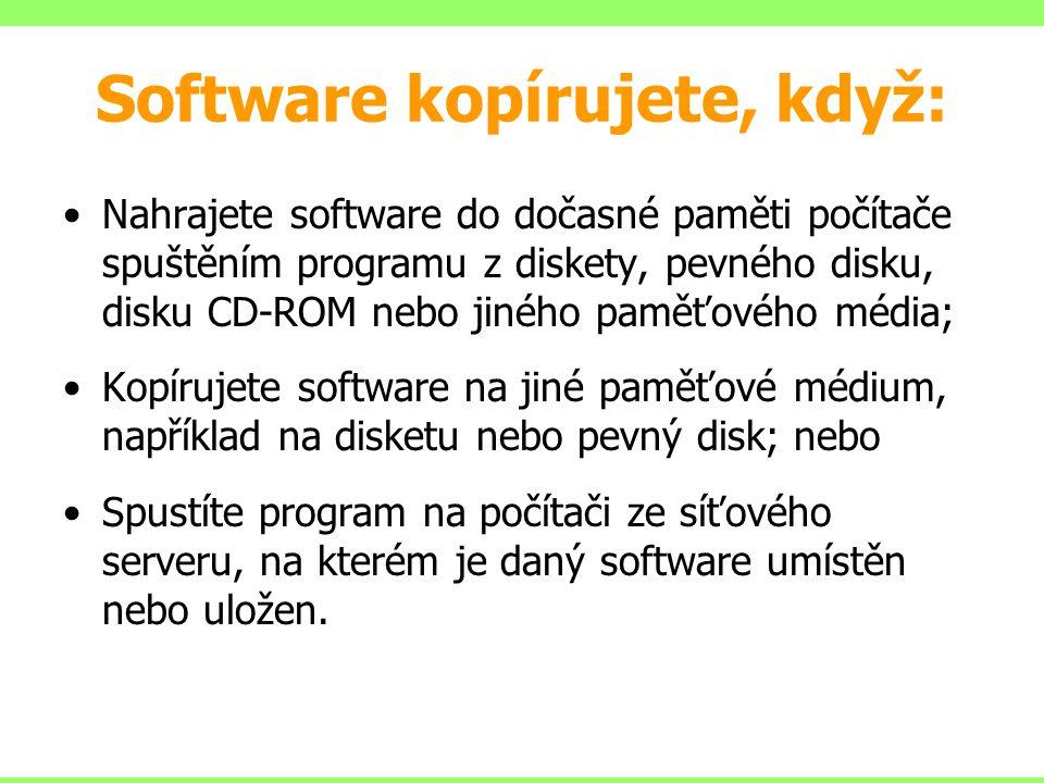 Software kopírujete, když: