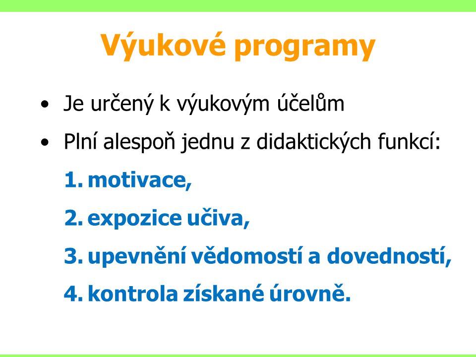 Výukové programy Je určený k výukovým účelům