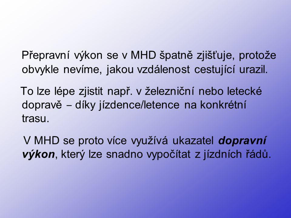 Přepravní výkon se v MHD špatně zjišťuje, protože obvykle nevíme, jakou vzdálenost cestující urazil.