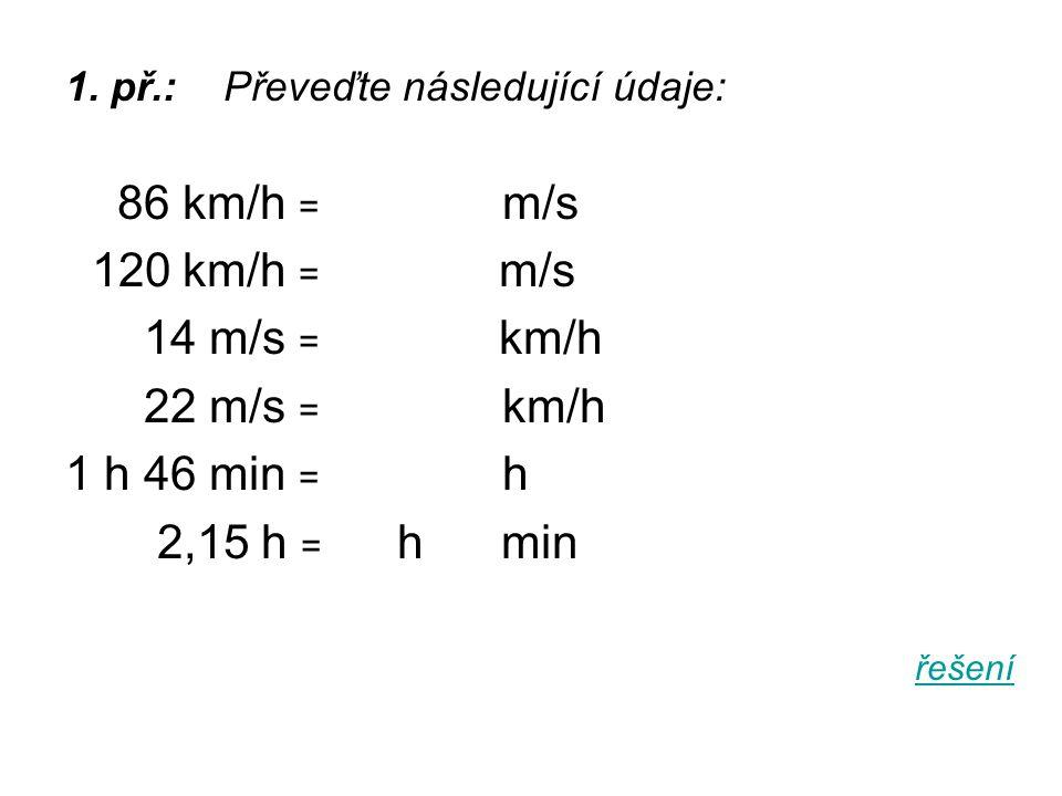 86 km/h = m/s 120 km/h = m/s 14 m/s = km/h 22 m/s = km/h