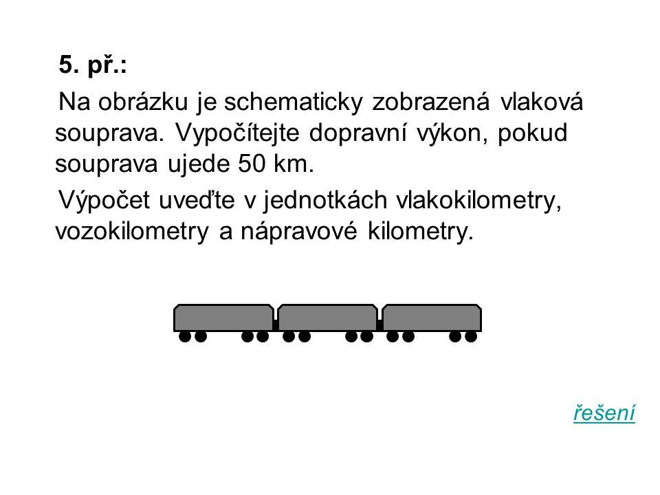 5. př.: Na obrázku je schematicky zobrazená vlaková souprava. Vypočítejte dopravní výkon, pokud souprava ujede 50 km.