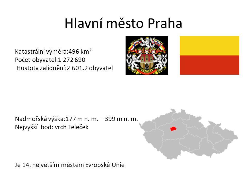 Hlavní město Praha Katastrální výměra:496 km² Počet obyvatel:1 272 690