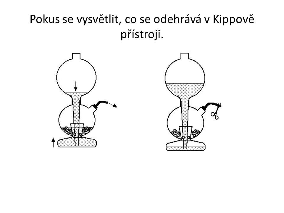 Pokus se vysvětlit, co se odehrává v Kippově přístroji.
