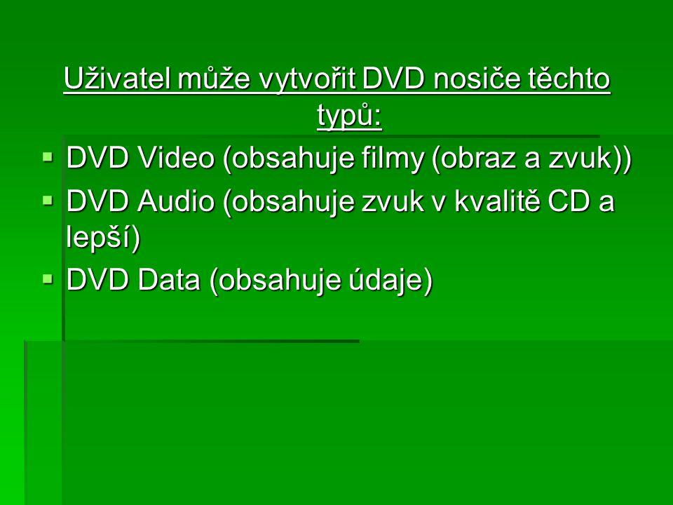 Uživatel může vytvořit DVD nosiče těchto typů: