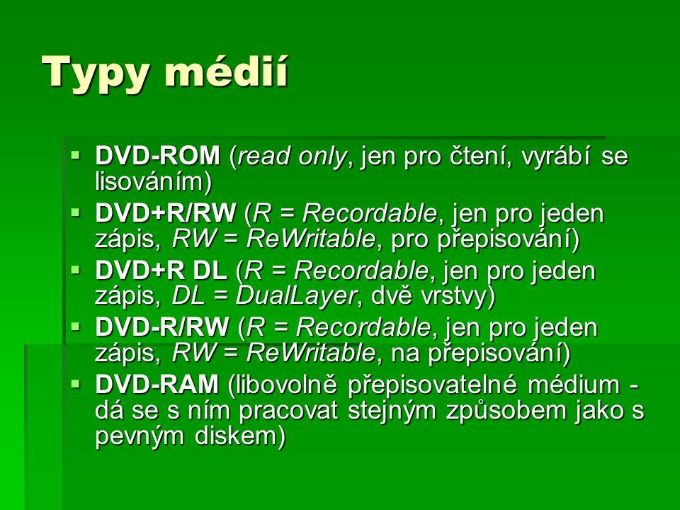 Typy médií DVD-ROM (read only, jen pro čtení, vyrábí se lisováním)