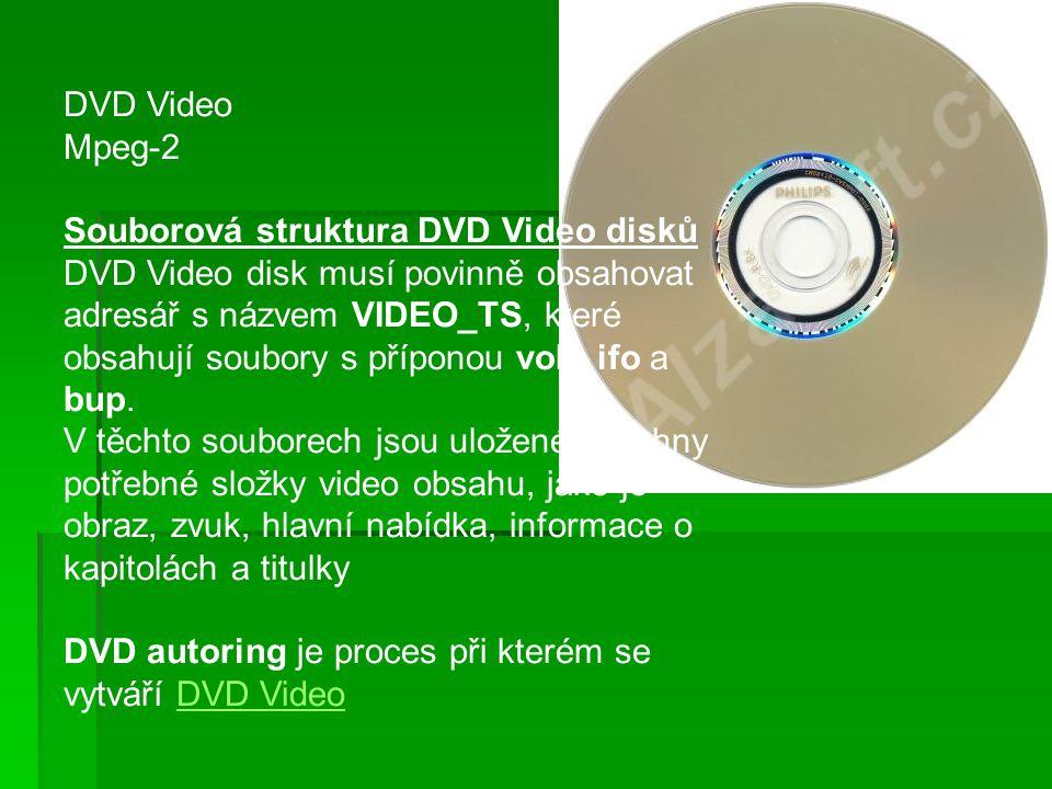 DVD Video Mpeg-2. Souborová struktura DVD Video disků.