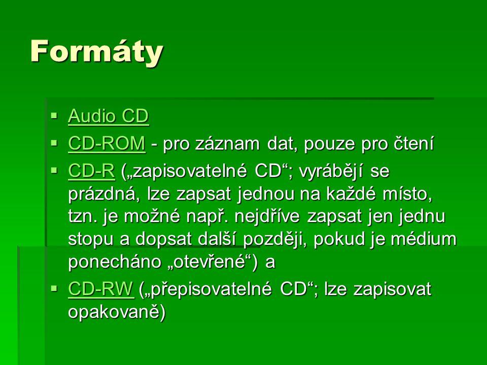 Formáty Audio CD CD-ROM - pro záznam dat, pouze pro čtení