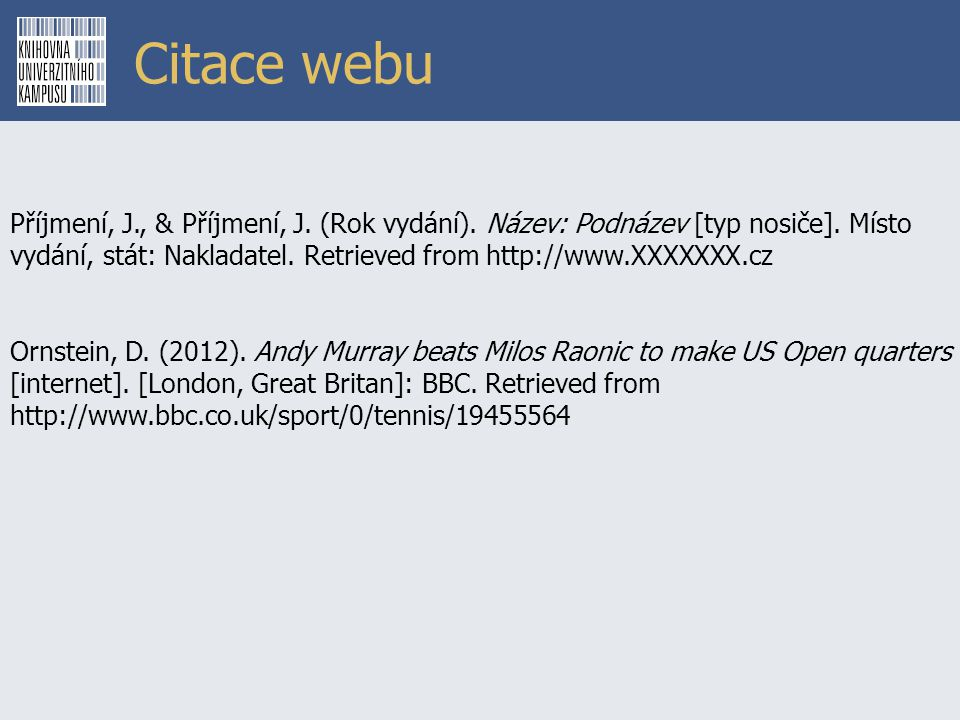 Citace webu