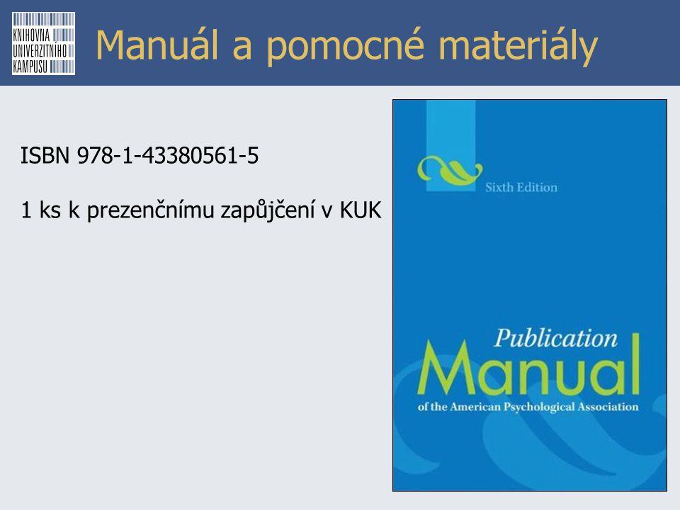 Manuál a pomocné materiály