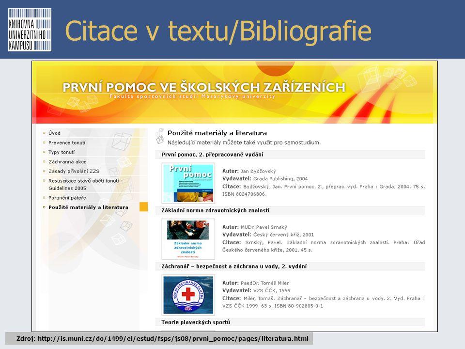 Citace v textu/Bibliografie