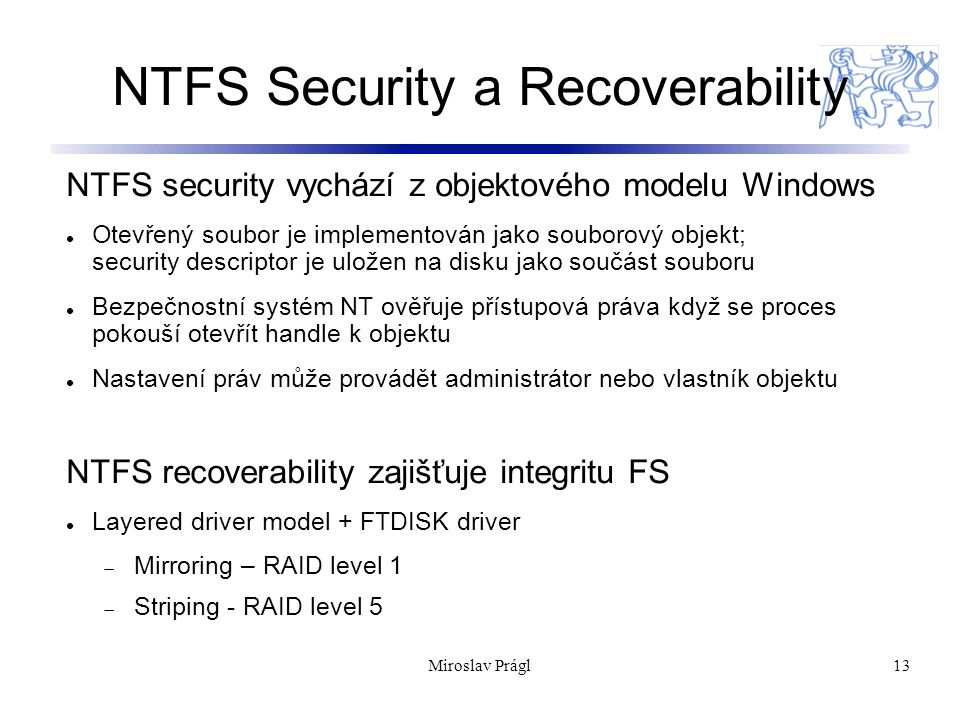 NTFS Security a Recoverability