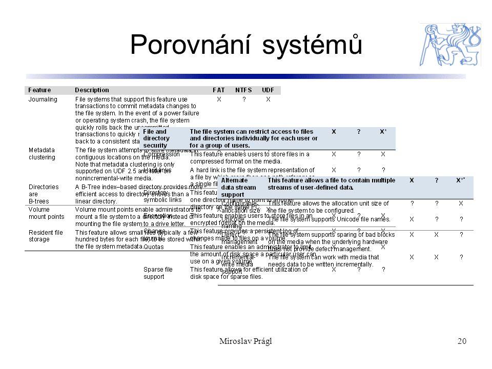 Porovnání systémů Miroslav Prágl