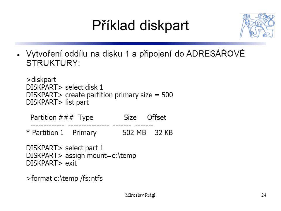 Příklad diskpart