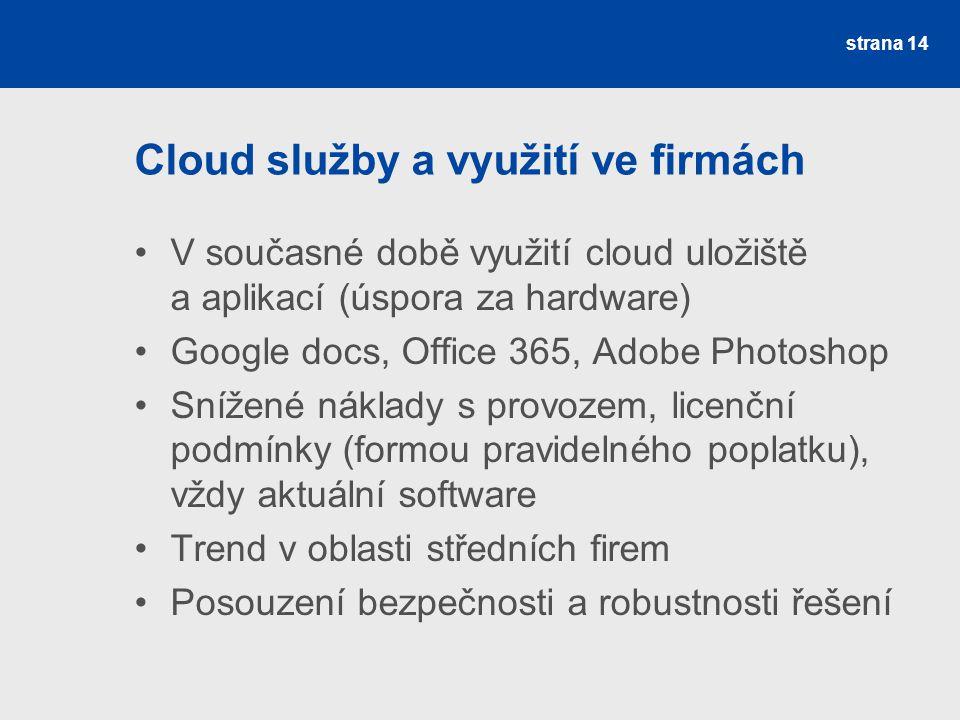 Cloud služby a využití ve firmách