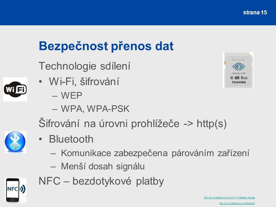 Bezpečnost přenos dat Technologie sdílení Wi-Fi, šifrování