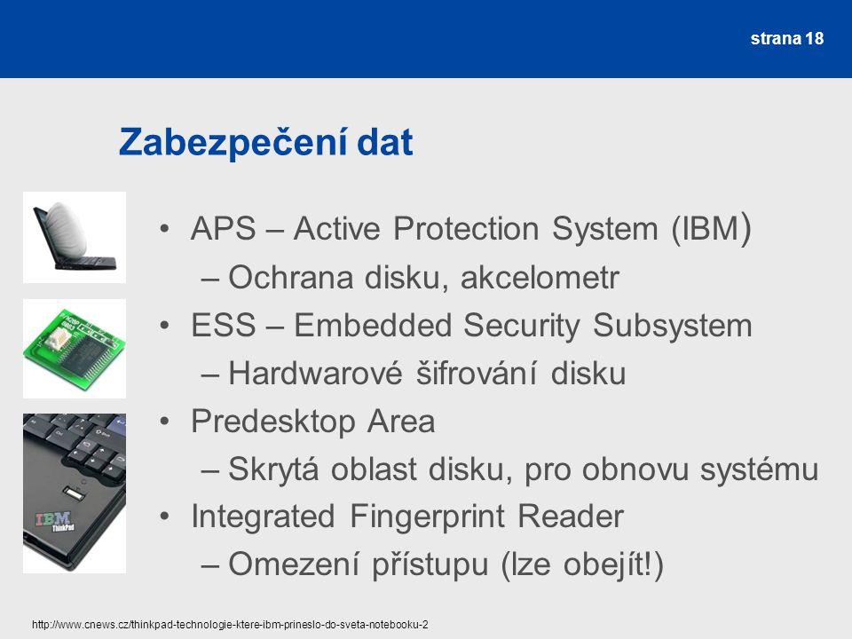 Zabezpečení dat APS – Active Protection System (IBM)