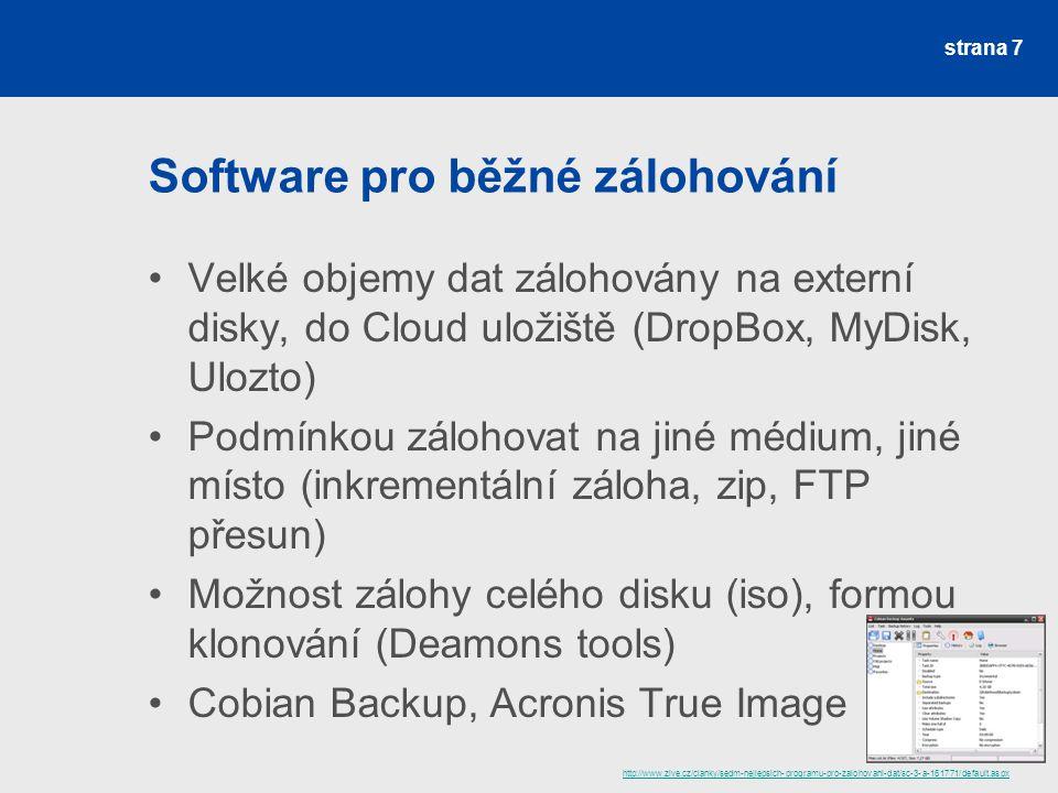 Software pro běžné zálohování