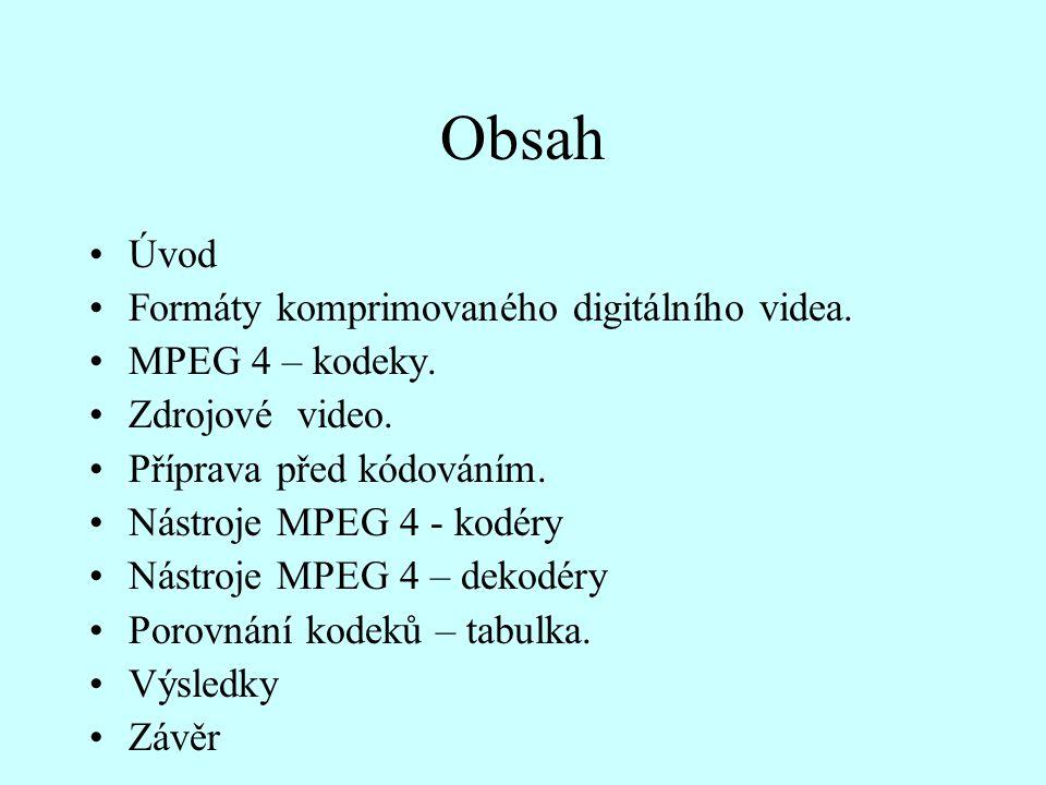 Obsah Úvod Formáty komprimovaného digitálního videa. MPEG 4 – kodeky.