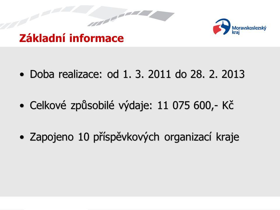 Základní informace Doba realizace: od 1. 3. 2011 do 28. 2. 2013. Celkové způsobilé výdaje: 11 075 600,- Kč.