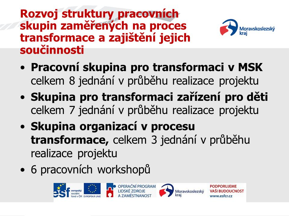 Rozvoj struktury pracovních skupin zaměřených na proces transformace a zajištění jejich součinnosti