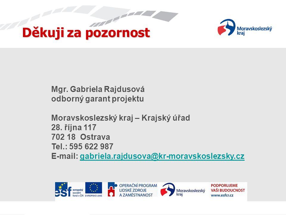 Děkuji za pozornost Mgr. Gabriela Rajdusová odborný garant projektu