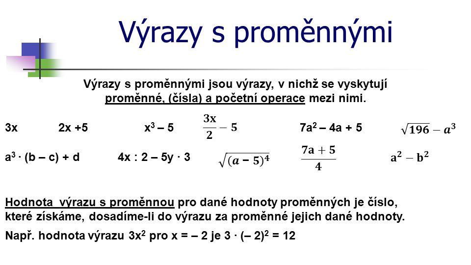 * Výrazy s proměnnými. 16. 7. 1996. Výrazy s proměnnými jsou výrazy, v nichž se vyskytují proměnné, (čísla) a početní operace mezi nimi.