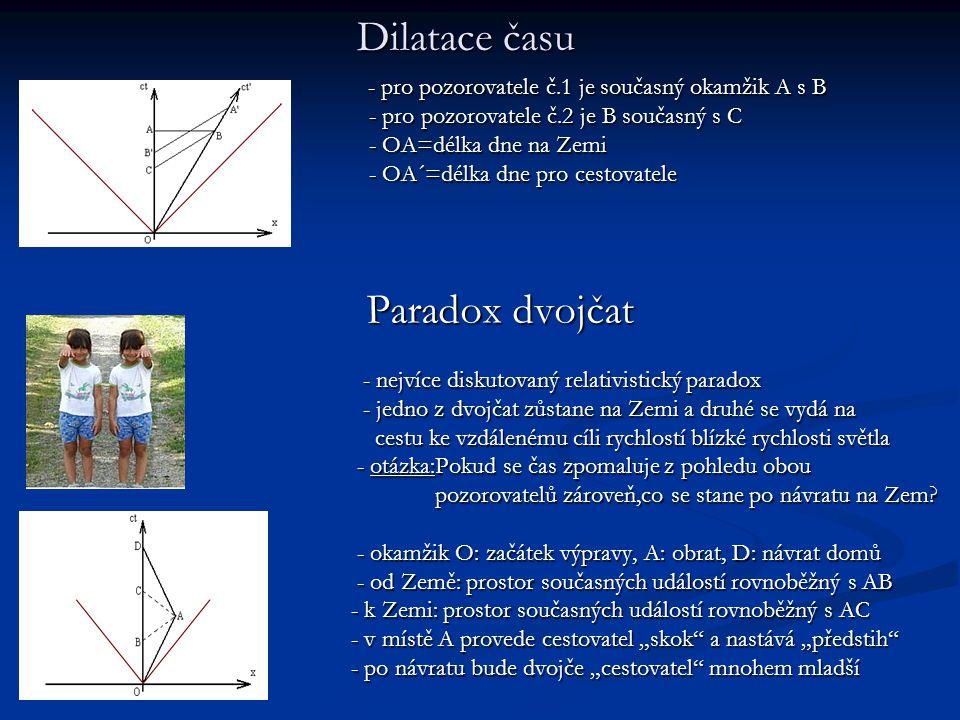 Dilatace času Paradox dvojčat - pro pozorovatele č.2 je B současný s C