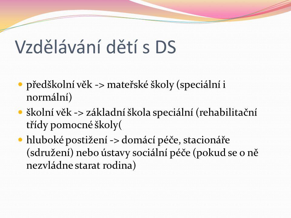 Vzdělávání dětí s DS předškolní věk -> mateřské školy (speciální i normální)