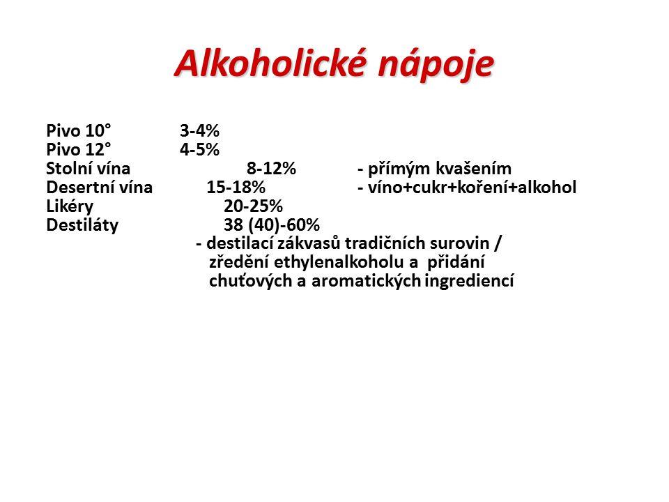 Alkoholické nápoje Pivo 10° 3-4% Pivo 12° 4-5%
