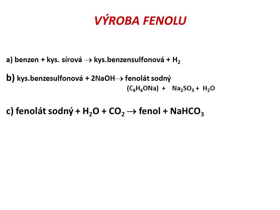 VÝROBA FENOLU b) kys.benzesulfonová + 2NaOH fenolát sodný
