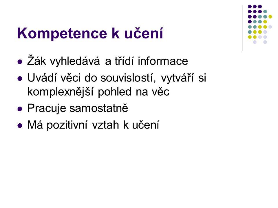Kompetence k učení Žák vyhledává a třídí informace