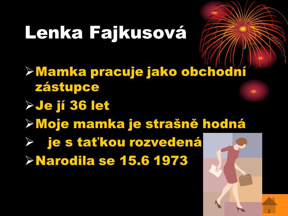 Lenka Fajkusová Mamka pracuje jako obchodní zástupce Je jí 36 let
