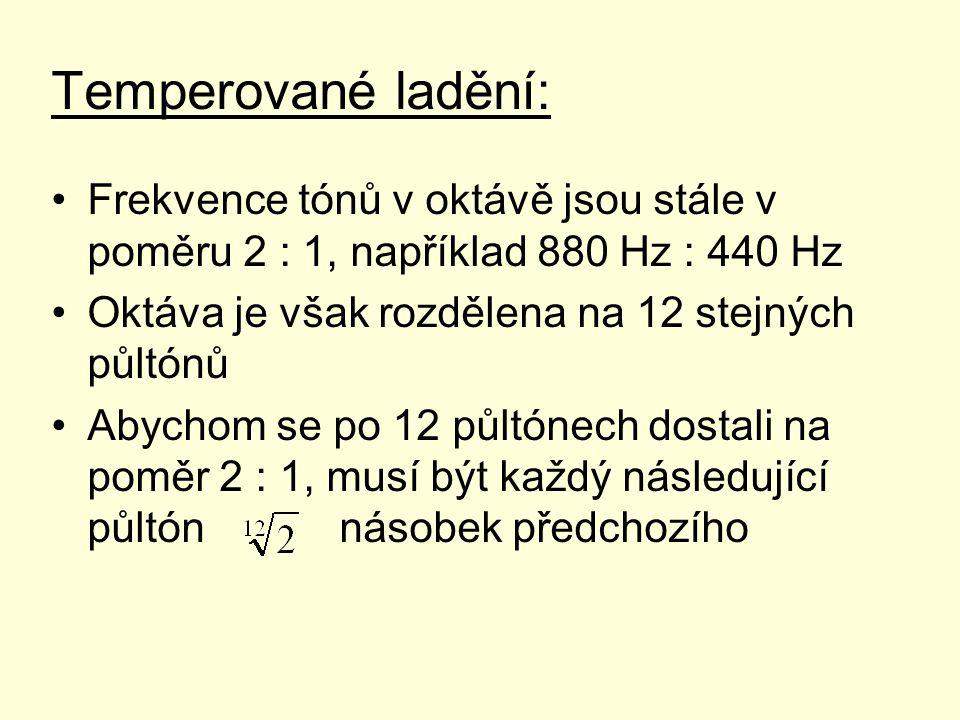 Temperované ladění: Frekvence tónů v oktávě jsou stále v poměru 2 : 1, například 880 Hz : 440 Hz. Oktáva je však rozdělena na 12 stejných půltónů.