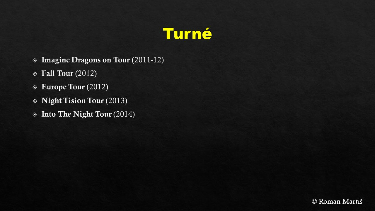 Turné Imagine Dragons on Tour (2011-12) Fall Tour (2012)