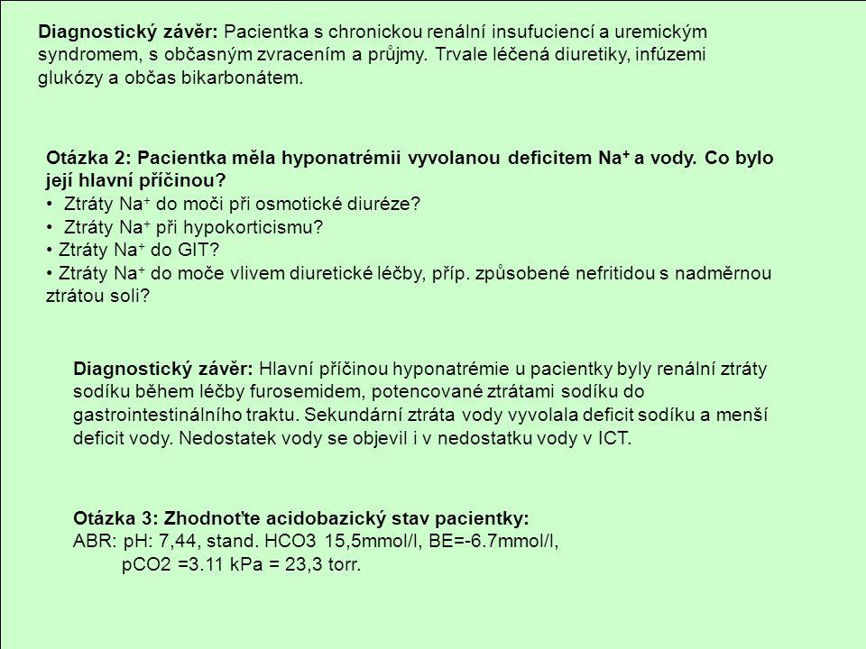 Diagnostický závěr: Pacientka s chronickou renální insufuciencí a uremickým syndromem, s občasným zvracením a průjmy. Trvale léčená diuretiky, infúzemi glukózy a občas bikarbonátem.