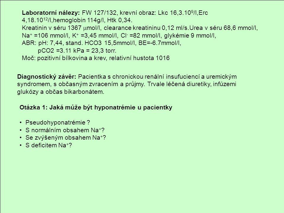 Laboratorní nálezy: FW 127/132, krevní obraz: Lkc 16,3. 109/l,Erc 4,18