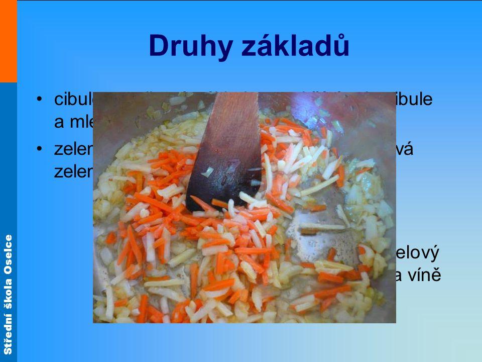 Druhy základů cibulo-paprikový základ - rozehřátý tuk, cibule a mletá paprika.