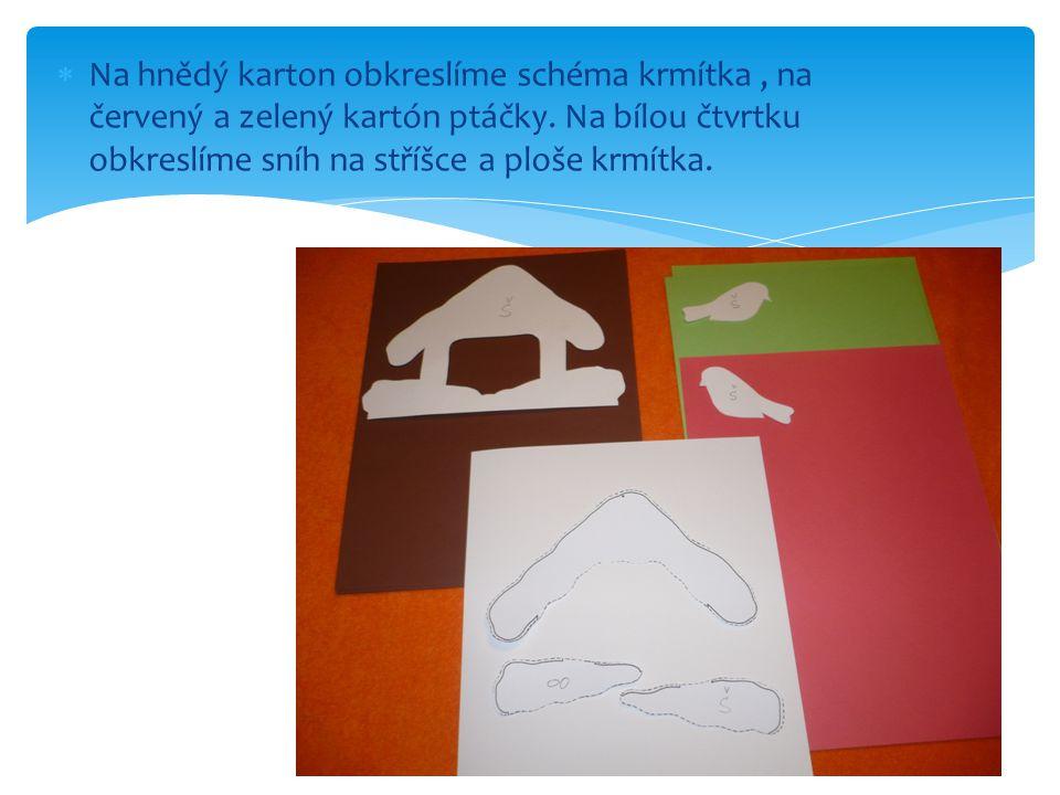 Na hnědý karton obkreslíme schéma krmítka , na červený a zelený kartón ptáčky.