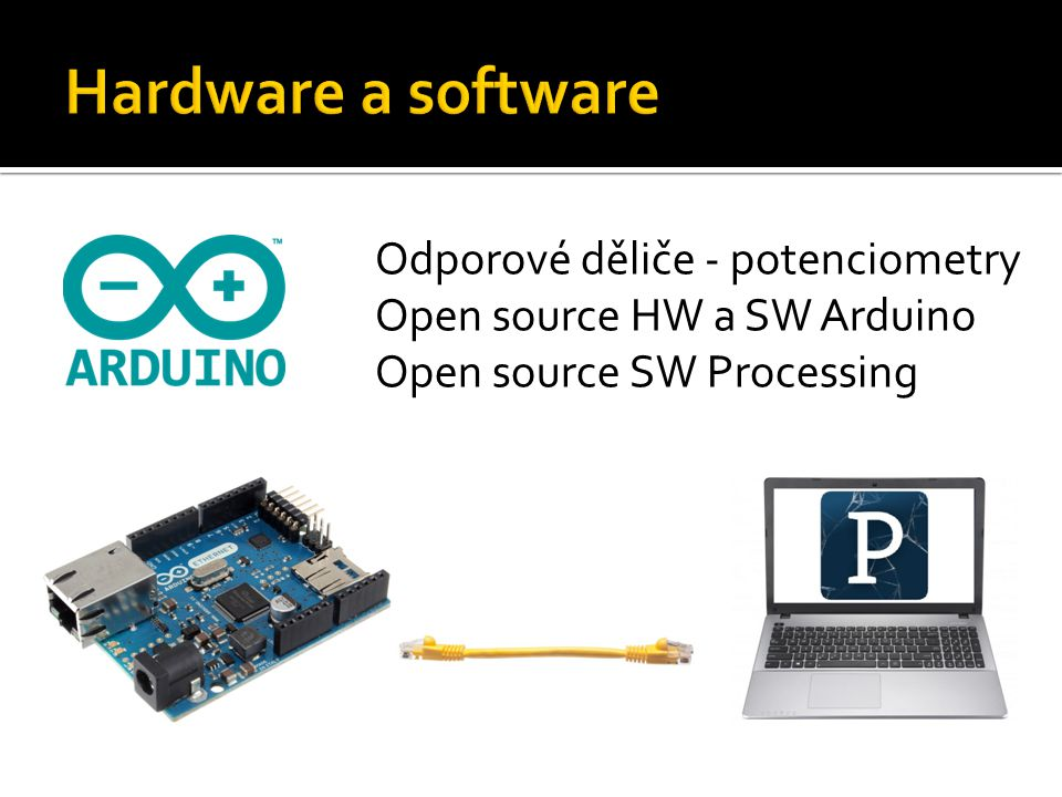Hardware a software Odporové děliče - potenciometry Open source HW a SW Arduino. Open source SW Processing.