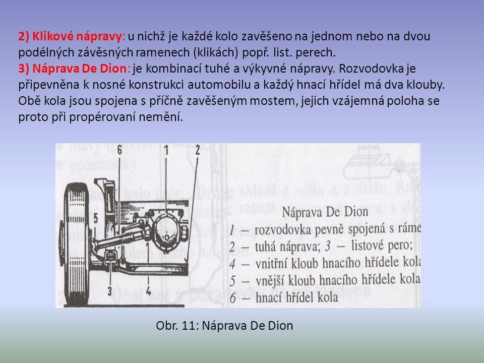 2) Klikové nápravy: u nichž je každé kolo zavěšeno na jednom nebo na dvou podélných závěsných ramenech (klikách) popř. list. perech.