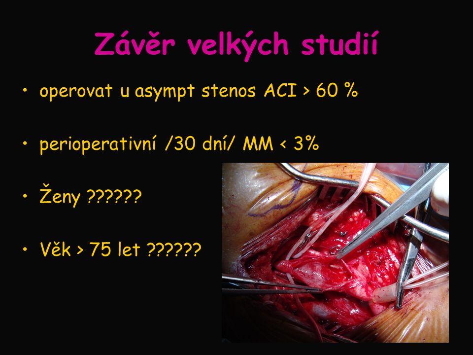 Závěr velkých studií operovat u asympt stenos ACI > 60 %