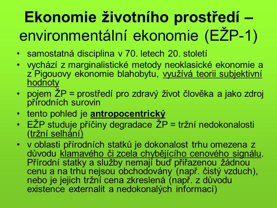 Ekonomie životního prostředí – environmentální ekonomie (EŽP-1)