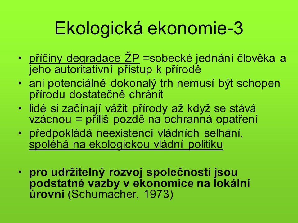 Ekologická ekonomie-3 příčiny degradace ŽP =sobecké jednání člověka a jeho autoritativní přístup k přírodě.