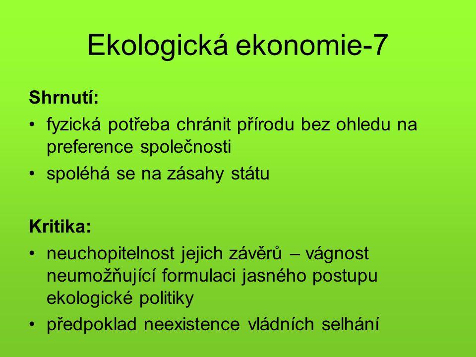 Ekologická ekonomie-7 Shrnutí: