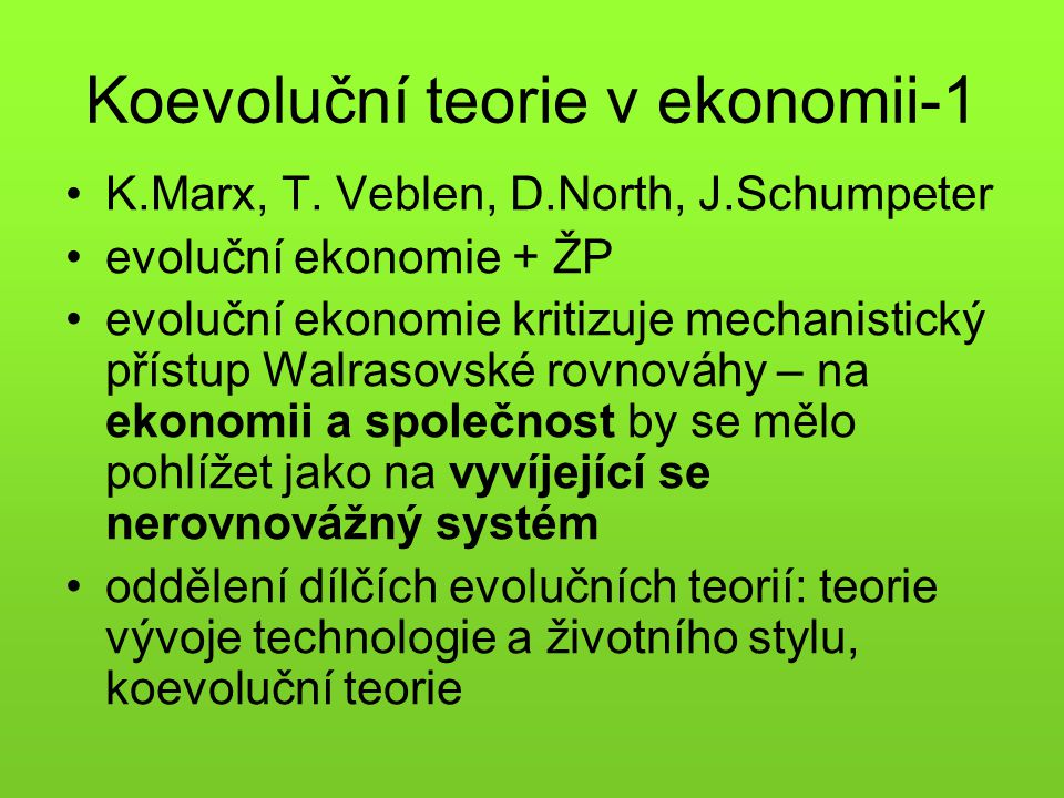 Koevoluční teorie v ekonomii-1