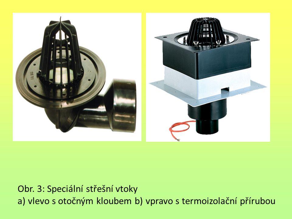 Obr. 3: Speciální střešní vtoky a) vlevo s otočným kloubem b) vpravo s termoizolační přírubou