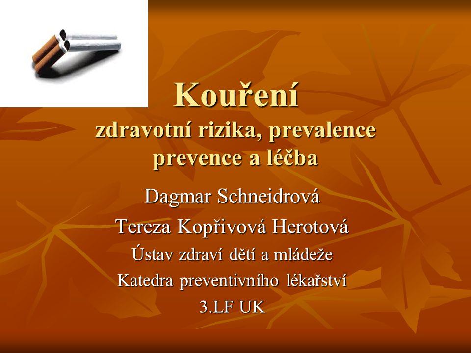 Kouření zdravotní rizika, prevalence prevence a léčba
