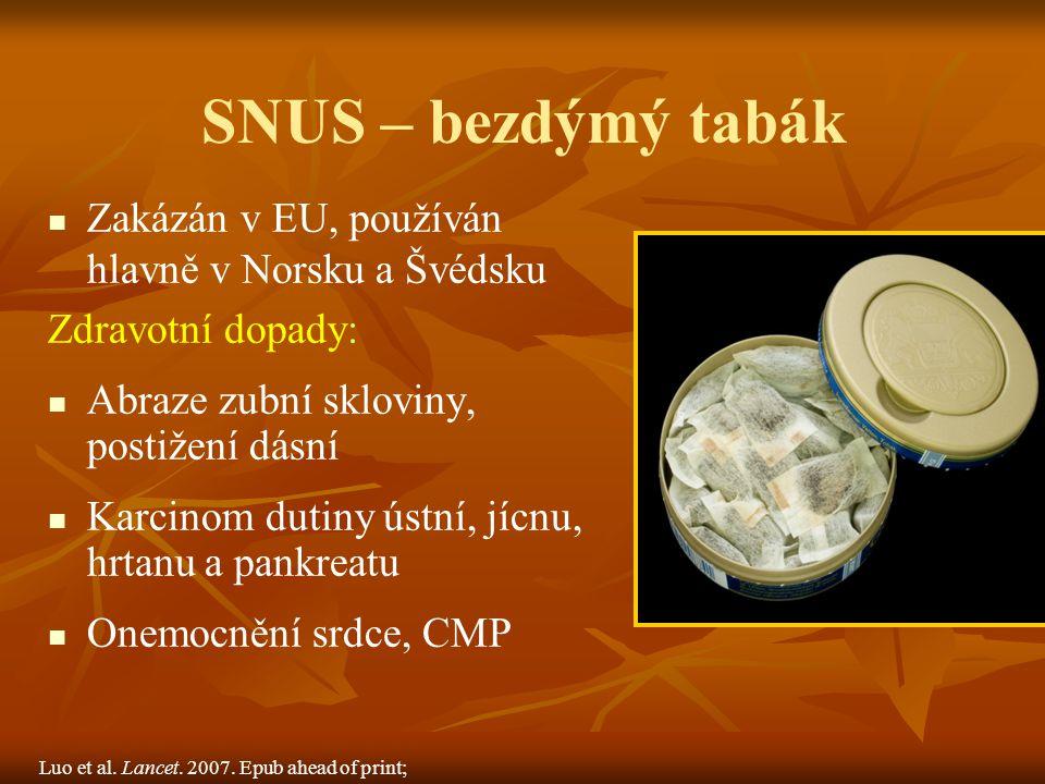 SNUS – bezdýmý tabák Zakázán v EU, používán hlavně v Norsku a Švédsku